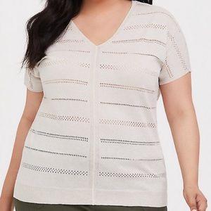 Torrid Shimmer Knit Dolman Sweater Top Cream 3X